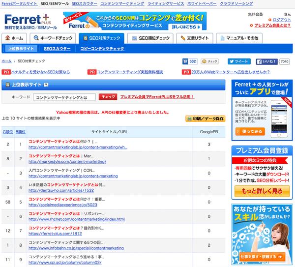 ferretキーワードツール検索